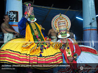 SanthanaGopalam Kathakali: Kalamandalam Sreekumar as SriKrishnan and Kalamandalam Balasubrahmanian as Arjunan.