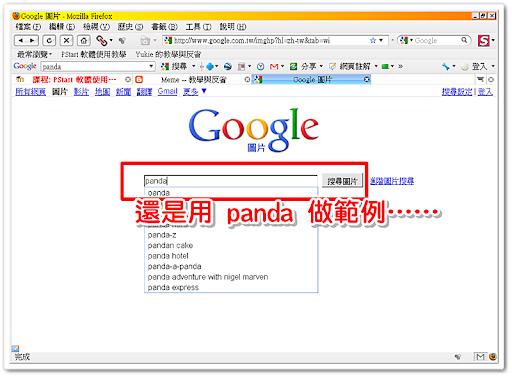 在 Google Images 中搜尋 Panda