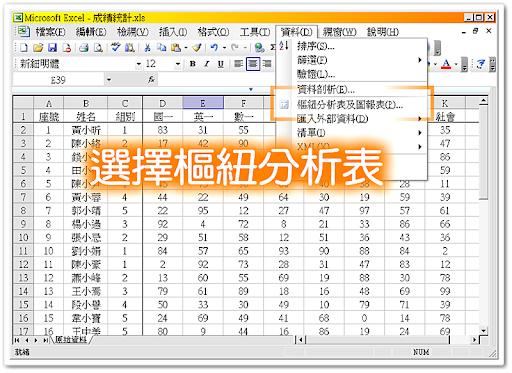 從資料功能表叫出樞紐分析表 Pivot Table