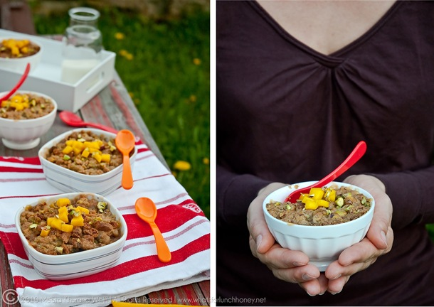 Rhubarb Mango Pistachio and Amaretti Crumbles (Diptych-1) by MeetaK