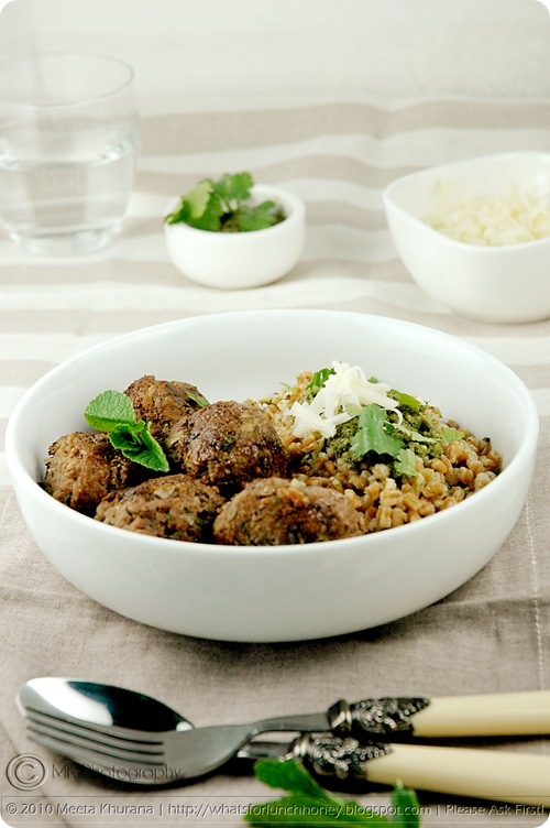 Mint Lamb Meatballs with Spelt Risotto Coriander Pesto (02) by MeetaK