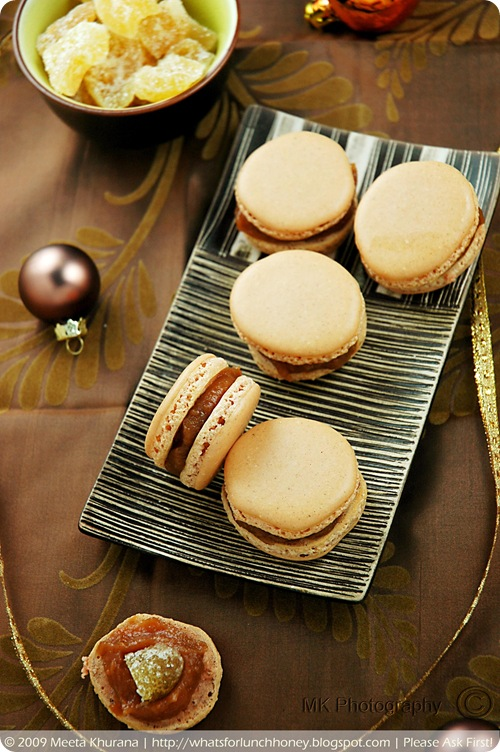 Lebkuchen Spice Macarons with Quince Jam and Candied Ginger (03) by MeetaK