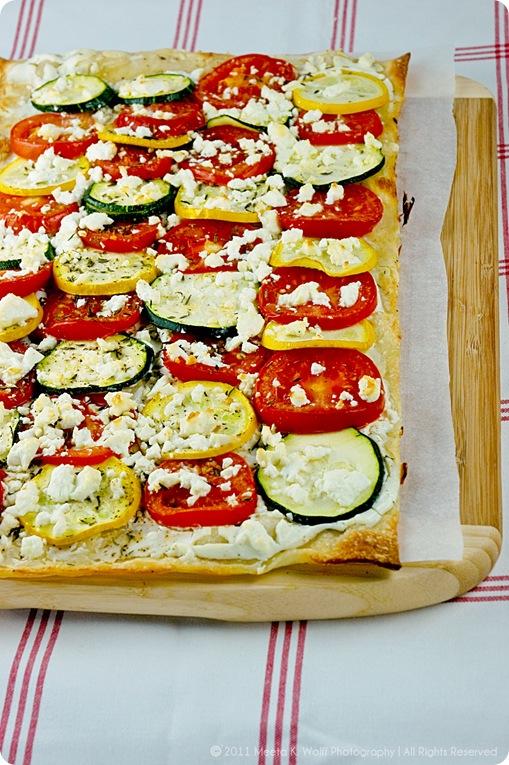 Tomato Zucchini Feta Tarte Flambee (01) by Meeta K. Wolff