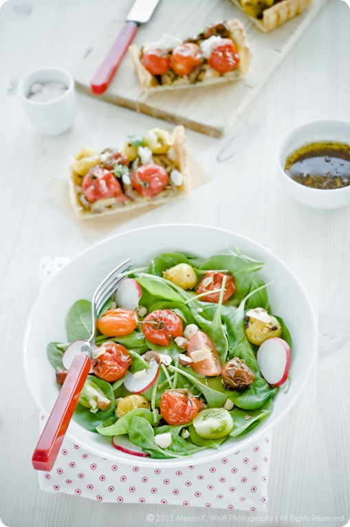 Baby Spinach Salad with Roasted Garlic Tomatoes, Hazelnuts and a Quince and Pear Vinaigrette  (0018) by Meeta K. Wolff
