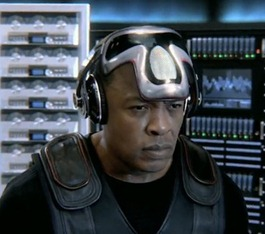 is that a Cylon mask?  Dre you are SO COOL.