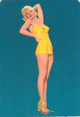 Marilyn Monroe pinup image on vintage postcard, 1953