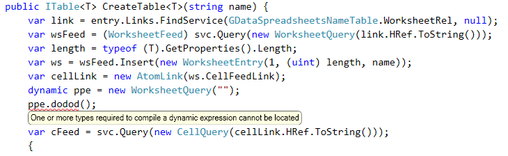 One or more types required to compile a dynamic expression cannot be located