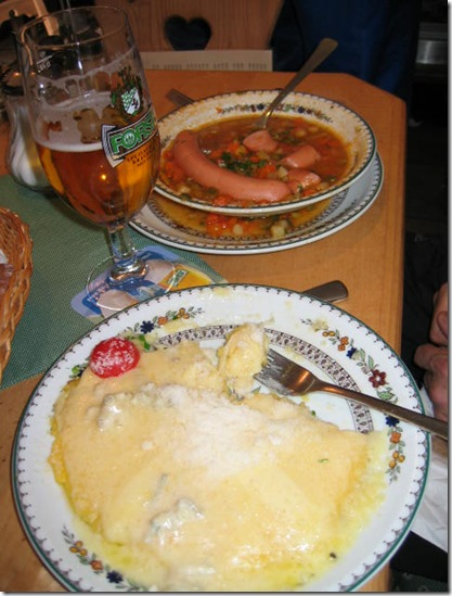 polenta, sausage and beer-Val Gardena Jan 2004