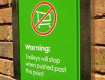 Внимание! Колеса тележки заблокируются, если вы пересечете эту границу!