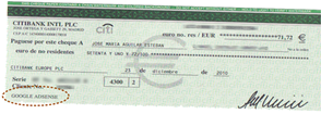 Mi primer cheque Adsense