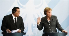 Angerla Merkel and Hosni Mubarak
