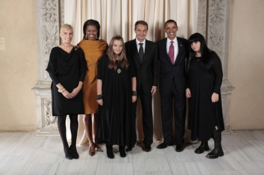 President Barack Obama and First Lady Michelle Obama pose for a photo during a reception at the Metropolitan Museum in New York with, H.E. Jose Luis Rodriguez Zapatero President of the Government of Spain and Mrs. Sonsoles Espinosa and family, Wednesday, Sept. 23, 2009. (Official White House Photo by Lawrence Jackson)