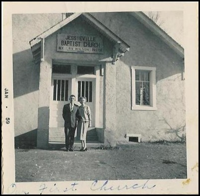 mother and daddy at jessieville church in 59
