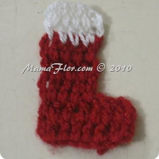 Bota Navideña tejido a Crochet