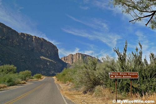 Left turn ahead is Santa Elena Canyon River Access
