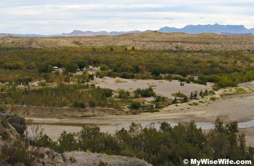Foreground is Terlingua Creek, then picnic/parking area and the mountains vista afar