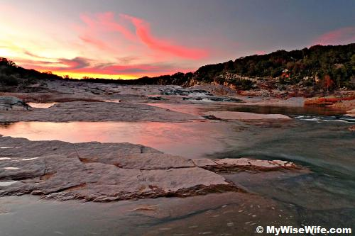Sunset at Pedernales Falls, Texas State Park