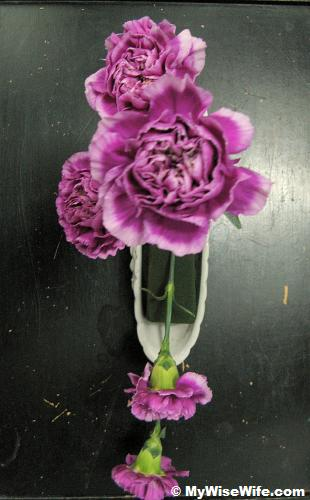 Top view - All the carnations in place