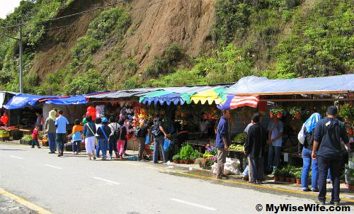 Wooden stalls set-up along the inner road beside a slope