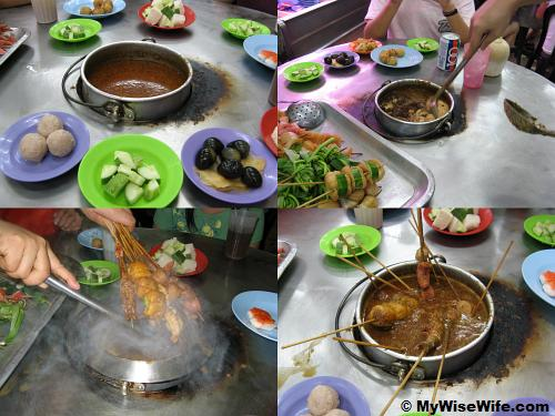 From top left (clockwise) - Peanut sauce pot is ready, Adding peanuts and brown sugar, Dunking starts, Stirring to avoid sedimentation