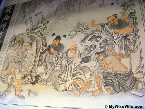 Mural of The Eight Immortals at their leisure