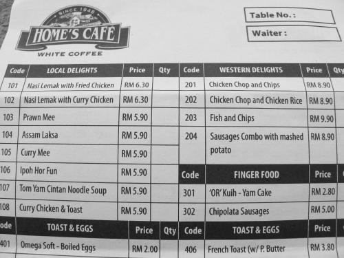 Menu of local delights and price