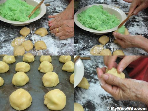 From top left (clockwise): Flatten dough, Fill shredded coconut, Fold it and make it roundish 
