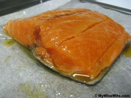 Honey glazed Salmon fillet - ready to bake