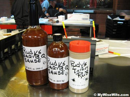 They sell Rudy's BBQ sauce and rub here