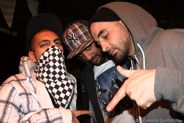 MC Prophecy (l), Dirty NeEdLeZ (c) and Jay Bulletproof (r)
