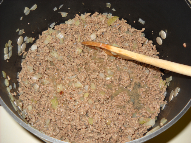 cook ground beef and onion