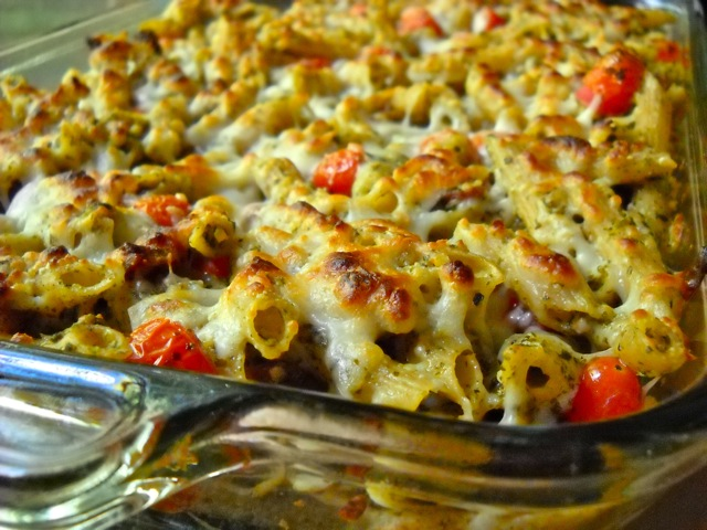 Bacon Pesto Pasta Bake