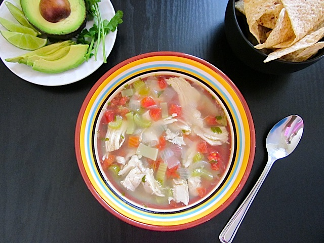 Caldo Xochitl with garnishes