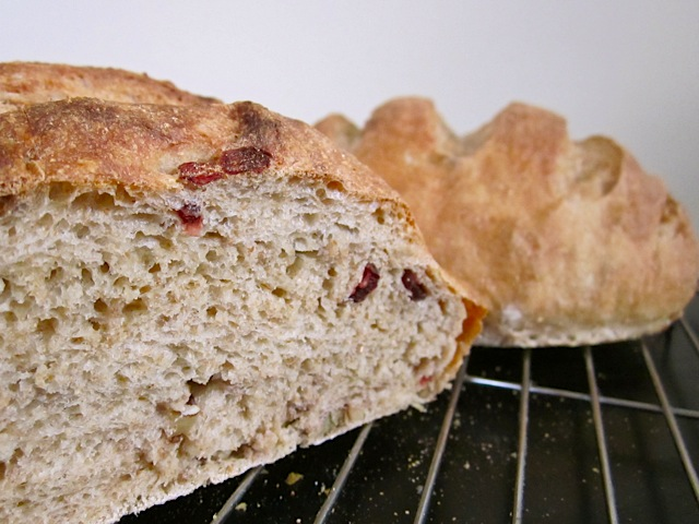 open cranberry walnut bread