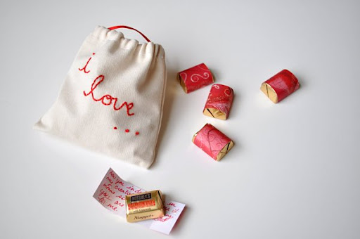 Handmade Valentine Pouch With Chocolates and Love Notes