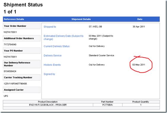 iPad delivery status