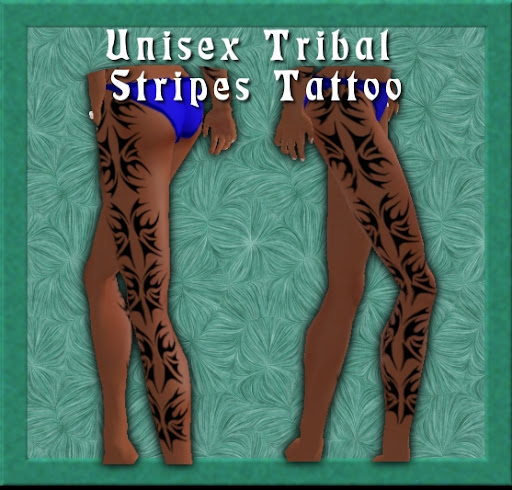 Unisex Tribal Stripes Tattoo - A tribal design tattoo along the outer edge