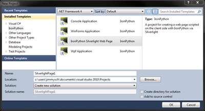 VS2010 New IronPython Silverlight project