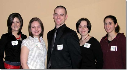 Scholarship winners from left: Allison Porrett, Rochelle Hawes, Brandon Gorton, Christa Ickowski, Kristen Bellmer
