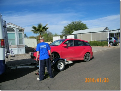 Judy drives Lil Red up onto the dolly... successfully