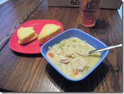 Don's homemade chicken pasta soup with LaVon's cornbread wedges