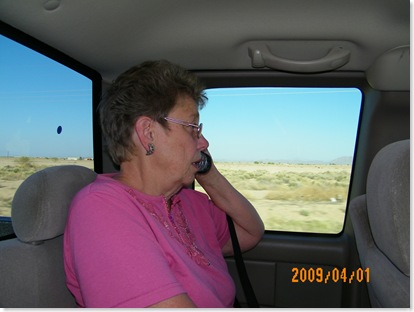 Nancy Reid on the phone... it's her birthday!!