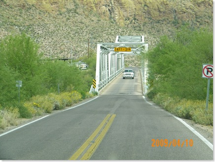 second one lane bridge on Apache Trail; we had to wait