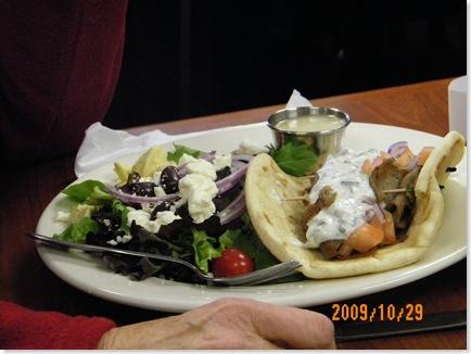 Ginny's gyro and greek salad