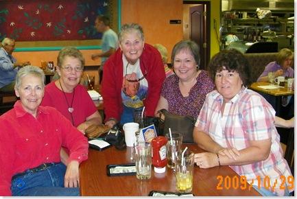 QR girls: Donna O'Neil, Nancy Reid, Ginny Dexter, me, Snookie Quinn at Creative Cafe, Casa Grande, AZ