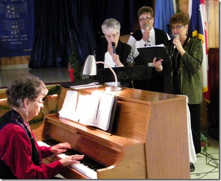 Jean, Nancy, Carol and Lyla practicing for Janet Graham's memorial service