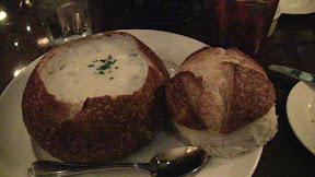 Boudin Bakery: Clam chowder in a bread bowl