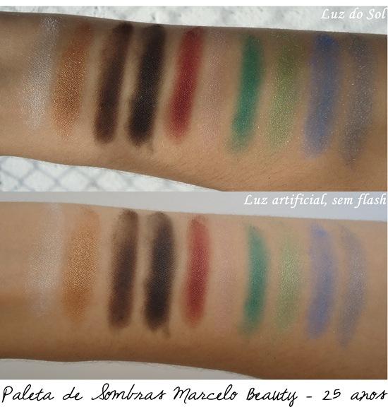 Swatches - Sombra Marcelo Beauty - Paleta