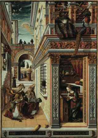 """""""The Annunciation"""" lukisan ini dibuat tahun 1486 oleh Carlo Crivelli. Lukisan tangan ini menggambarkan munculnya cahaya langit yang berasal dari pesawat UFO menerangi bangunan kota di sebuah negeri."""