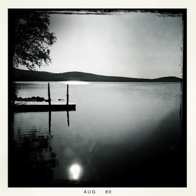 At the lake, monochrome